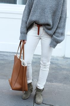 Closed denim & knit, Céline cabas bag and Isabel Marant boots. Via Mija