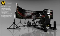 The Vesaro 195 - world first triple 65 inch curved display setup. This setup provides 1:1 scale cars and cockpit.