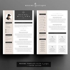 4 page resume cv template cover letter von theresumeboutique
