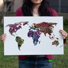 Carte mondiale aquarelle Art Print, Magenta rose & mauve peinture…