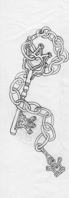 Key set by on DeviantArt Key Drawings, Pencil Art Drawings, Art Drawings Sketches, Cute Drawings, Girly Tattoos, Skull Tattoos, Body Art Tattoos, Tatoos, Heart Tattoos