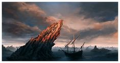 The Narrow Sea by ReneAigner (A Song of Ice and Fire) Fantasy Art Landscapes, Fantasy Paintings, Fantasy Landscape, Beautiful Landscapes, Game Of Thrones Houses, Game Of Thrones Art, Savage Worlds, Sea Photo, Fantasy Illustration