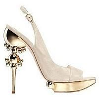 Beige Slingback With Golden Platform And Heel