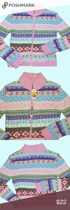 Cardigan Ski Sweater Juniors Juniors zip front cardigan, knit sweater. This sweater is pink with white, green, lavender, purple, blue & red threads knitted throughout the pattern.       Fabric is 50% acrylic, 25% Nylon, 25% Wool & may be machine washed and tumbled dry. SO Sweaters Cardigans
