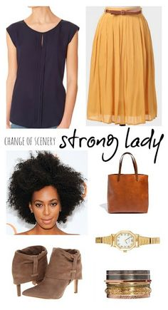 change of scenery, golden globes, midi skirt, work outfit ideas, spring outfit ideas, navy and yellow, booties with skirts, business casual