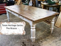 White scrubbed pine farmhouse table, I love the look of a sturdy farm table for both meals, and as work surfaces White Farmhouse Table, Country Dining Tables, Farmhouse Kitchen Tables, Rustic Table, Dining Room Table, Wood Table, Modern Farmhouse, Dining Rooms, Farmhouse Decor