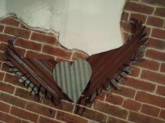 Kansas Barn Tin Heart with Wings Gypsy Junk Rusty by whattawaist