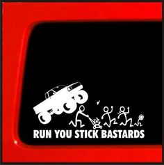 Stick Figure Family Run You Stick Bast*rds Monster truck funny stickers car decal bumper sticker vinyl decals by StickerWarehouse on Etsy