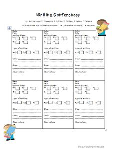 writing conference form for teachers personal narratives