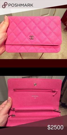 Fuschia Chanel wallet on chain in caviar leather Fuchsia pink caviar leather Chanel wallet on chain. Excellent used condition. Great crossbody bag. Rare and hard to find in this color. Comes with a dustbag, card, & sticker. I can also send with Chanel box, flower & ribbon. CHANEL Bags Crossbody Bags