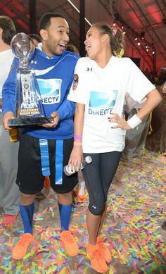John Legend & Chrissy Teigen - DirecTV Celebrity Beach Bowl - Game