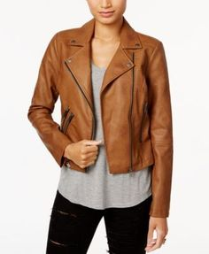 7d90e8b29106 Coffeeshop Juniors  Faux-Leather Buckled Moto Jacket - Tan Beige XL Brown  Faux