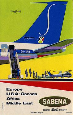 Mid-century luggage label for Sabena airlines. Like the helicopters waiting to transport our elegant travelers to exotic destinations.