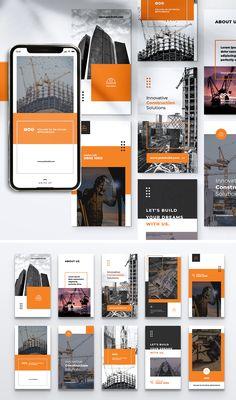Construction Instagram Stories Templates PSD Social Media Branding, Social Media Design, Instagram Story Template, Instagram Story Ideas, Banner Design Inspiration, Feeds Instagram, Newsletter Design, Instagram Design, Grid