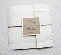 Perfect but with Navy folder! Lace Wedding Invitation,Lace Pocket Invitation,Shabby Chic,Vintage