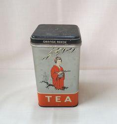 Vintage Tea Tin Rchelieu Geisha Girl Oriental Man Tea Picker Orange Pekoe…