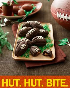 Snack idea: Stuffed Football Cookies with Peanut Butter Cups Minis inside - sounds like a touchdown! When in doubt, go for two!