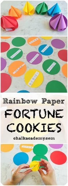 How to Make Rainbow Paper Fortune Cookies! Easy craft & Chinese culture & Chinese food & Chinese activity for kids & Kids Crafts, Arts And Crafts For Teens, Art And Craft Videos, New Year's Crafts, Easy Arts And Crafts, Food Crafts, Crafts For Camp, Quick Crafts, Creative Crafts