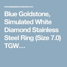 Blue Goldstone, Simulated White Diamond Stainless Steel Ring (Size 7.0) TGW…