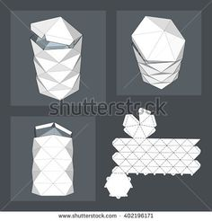 with Die Cut Template. Packing box For Food, Gift Or Other Products. On White Background Isolated. Origami 3d, Paper Crafts Origami, 3d Paper, Vase Crafts, Diy Crafts, Apple Packaging, Geometric Box, Die Cut, Paper Folding