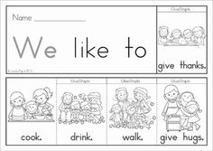FREE Thanksgiving Flip Book (colored black and white). Includes a journal / writing sheet. Great for kindergarten and first grade children. Fantastic paper saving idea - a little booklet made from just one piece of paper!