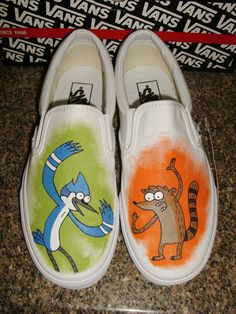 Handpainted Regular Show Mordecai Rigby by WalkingDeadApparel, $110.00