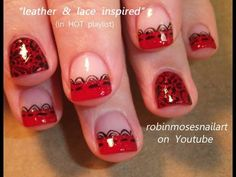 Short red nails with black lace by Robin Moses.