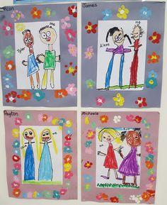 Friendship art Preschool Friendship, Friendship Crafts, Friendship Activities, Friendship Photos, Drawing Projects, Art Projects, Steam Art, Kindergarten Art Lessons, First Grade Art