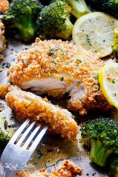Oven Fried Chicken + Broccoli + Honey Garlic Sauce   http://cafedelites.com