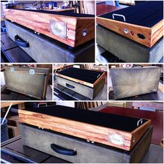This is a Canary Wood pedalboard with a Zombie Tweed case finish. Oh so pretty.