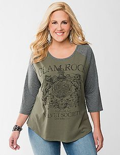 Show off your rocker style in cool, casual comfort in this soft baseball tee! Sassy Glam Rock graphic sparkles with embellished details. Scoop neck and 3/4 sleeves. lanebryant.com
