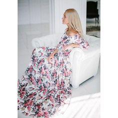 New Women Summer Maxi Three Quarter Sleeve Floral Print Party Elegant Long Dress
