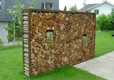 You want to build a outdoor firewood rack? Here is a some firewood storage and creative firewood rack ideas for outdoors. Outdoor Firewood Rack, Firewood Storage, Outdoor Art, Outdoor Gardens, Outdoor Living, Wood Fence Design, Garden Screening, Garden Fencing, Garden Privacy