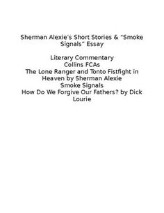 from the absolutely true diary of a part time n by sherman smoke signals sherman alexie commentary essay