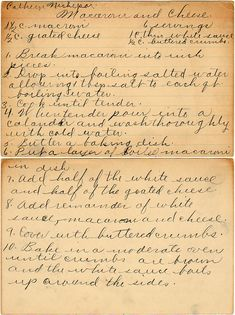 Macaroni And Cheese (and a small history lesson on Macaroni) Retro Recipes, Old Recipes, Cookbook Recipes, Vintage Recipes, Cooking Recipes, Family Recipes, Baked Macaroni Cheese, Macaroni Pasta, Cheese Dishes