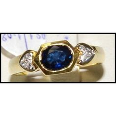 http://rubies.work/0234-ruby-rings/ Diamond Solitaire Genuine Blue Sapphire Ring 18K by BKGjewels