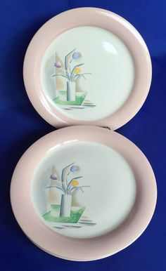 7 Homer Laughlin Swing Eggshell Dinner Plates 9 1/4 Inch Tulips In Vase Vintage #HomerLaughlin #SwingEggshell