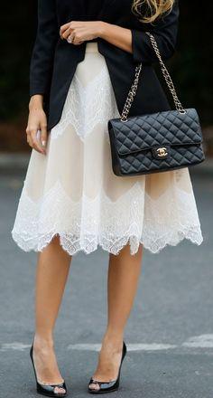 Lady Prim loveliness- black + white- black blazer- black shoes- Chanel bag + lace skirt