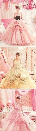 Ruffles, pickups and swirls in pastels. Dreamy wedding fashions indeed.