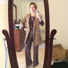 Week two of new clothes! #Cabi entice blouse, this time tucked into #limited trousers and finished off with fall 2014 #Cabi #animalprint coat and matching shoes. #SilpadaStyle jewelry featured the Charisma and Burgundy Blush necklaces. #WhatIWore #fashionover40 #fallfashion #officechic #mixedmetals