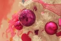 White tree with pink ornaments