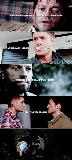 I didn't have to tell him. He knew. #spn #destiel