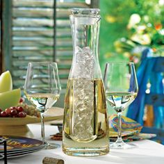 This Chilling Carafe from The Wine Enthusiast is a unique design that turns the whole chilled wine serving method inside out.