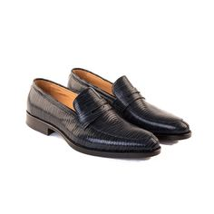 Giovanni - Men's Handmade Penny Loafer Shoe In Embossed Midnight blue Calf Leather