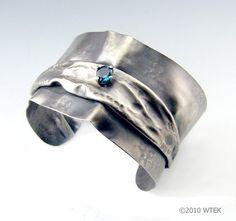 Fold Formed Silver cuff w/ Blue Topaz