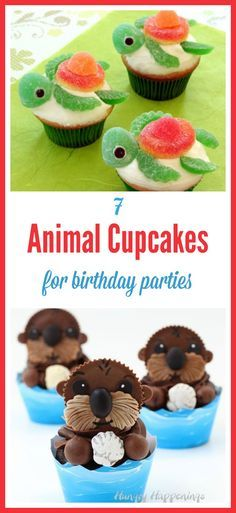 and Easy Animal Cupcakes that are Perfect for Parties Cute decorative cupcakes for kids birthday parties, including some awesome Finding Dory food ideas!Cute decorative cupcakes for kids birthday parties, including some awesome Finding Dory food ideas! Puppy Cupcakes, Easy Animal Cupcakes, Animal Cakes For Kids, Snacks Für Party, Parties Food, Kid Parties, Party Party, Cute Snacks, Themed Parties