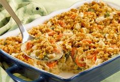 Easy Country Chicken Casserole:   If you're looking for great easy casserole recipes, here's a quick-cooking dinner idea that's fits into your busy day. Chicken and a seasoned stuffing combine with an herbed creamy sauce for a hearty casserole that's a favorite for kids and adults alike.
