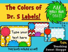 Dr. Seuss Classroom Labels for Books and Supplies!