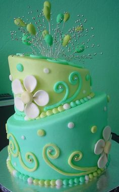 *Tonedna shows their work* with the use of butter cream frosting, fondant flowers, dragees and fondant dro drops. By sharing their work you have another idea for cake decorating. Of course I think it's beautiful, the reason I pinned it. (Robin)
