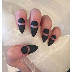 Matte black stiletto false nails with negative details ($15) ❤ liked on Polyvore featuring beauty products, nail care and black beauty products